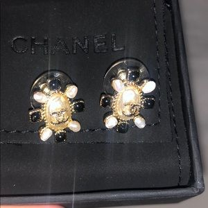 Chanel earrings gold and black